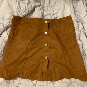 Suede camel button down skirt